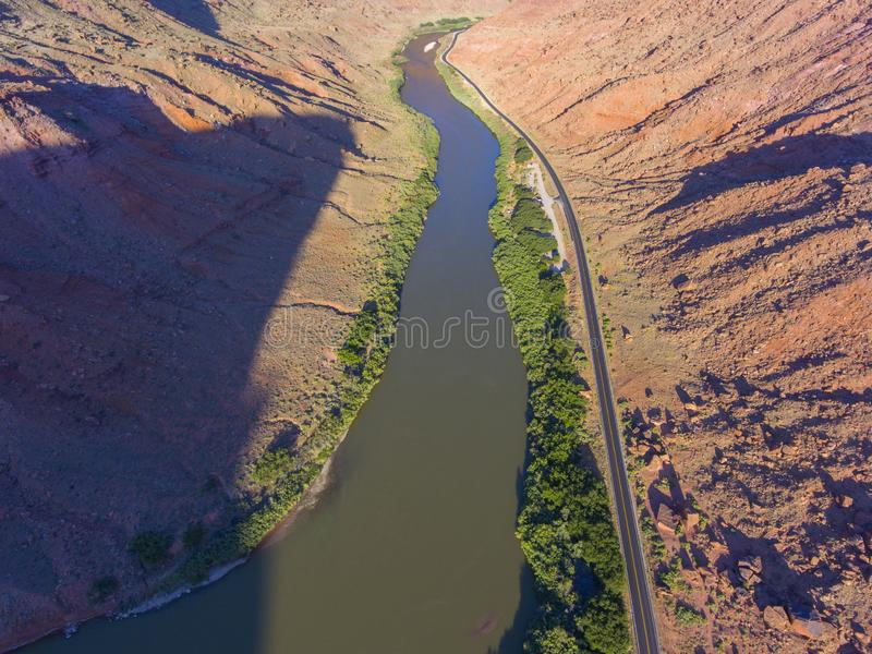 Colorado River aerial view, Moab, Utah, USA. Colorado River aerial view near Arches National Park, Moab, Utah, USA royalty free stock photos