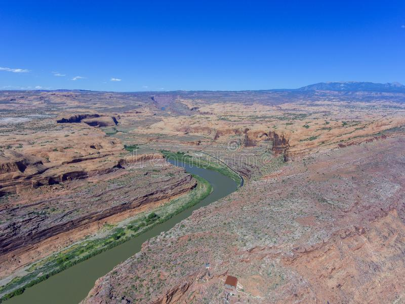 Colorado River aerial view, Moab, Utah, USA. Colorado River aerial view panorama near Arches National Park, Moab, Utah, USA royalty free stock photo