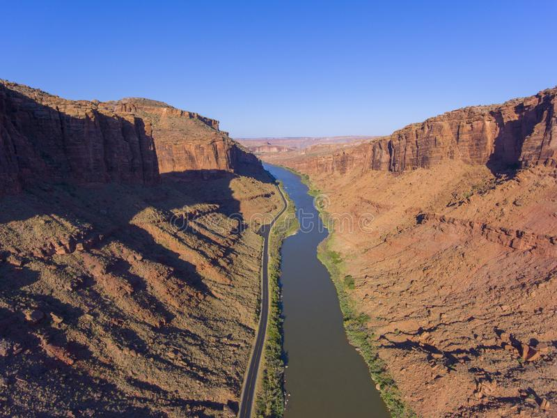 Colorado River aerial view, Moab, Utah, USA. Colorado River aerial view near Arches National Park, Moab, Utah, USA stock images
