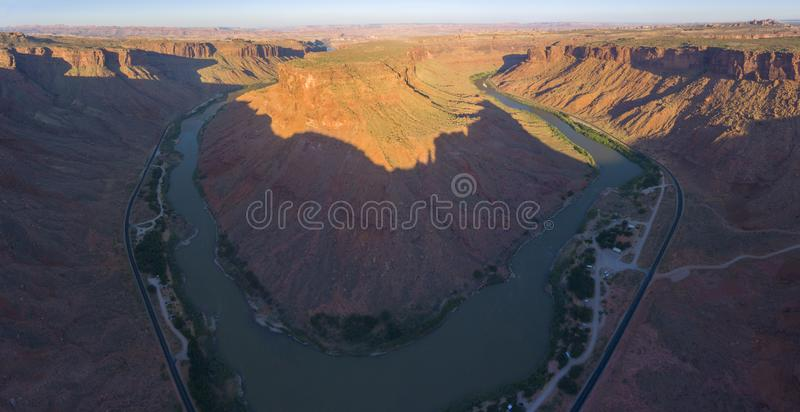 Colorado River aerial view, Moab, Utah, USA. Colorado River aerial view panorama near Arches National Park, Moab, Utah, USA stock image