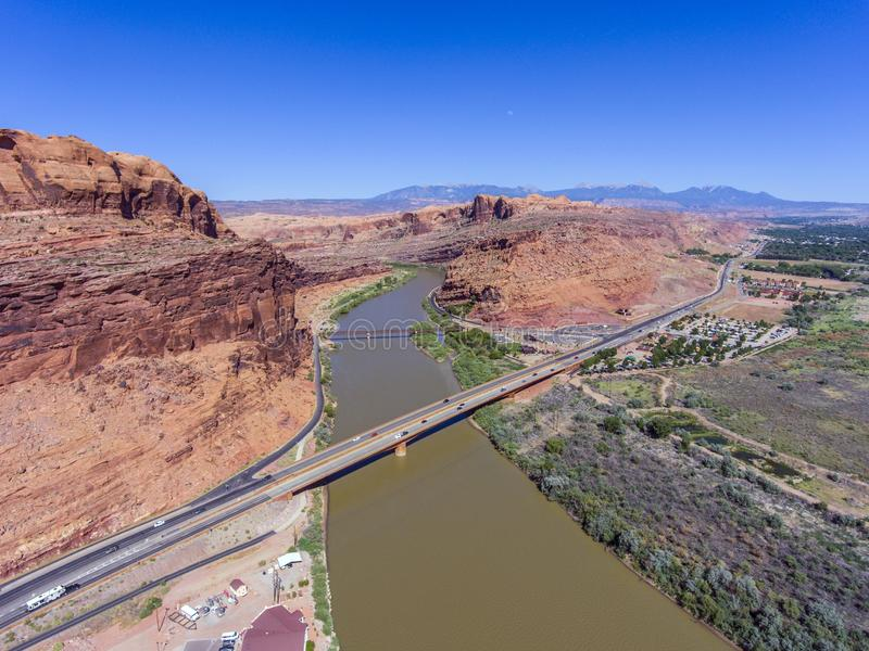 Colorado River aerial view, Moab, Utah, USA. Colorado River aerial view panorama near Arches National Park, Moab, Utah, USA royalty free stock photos