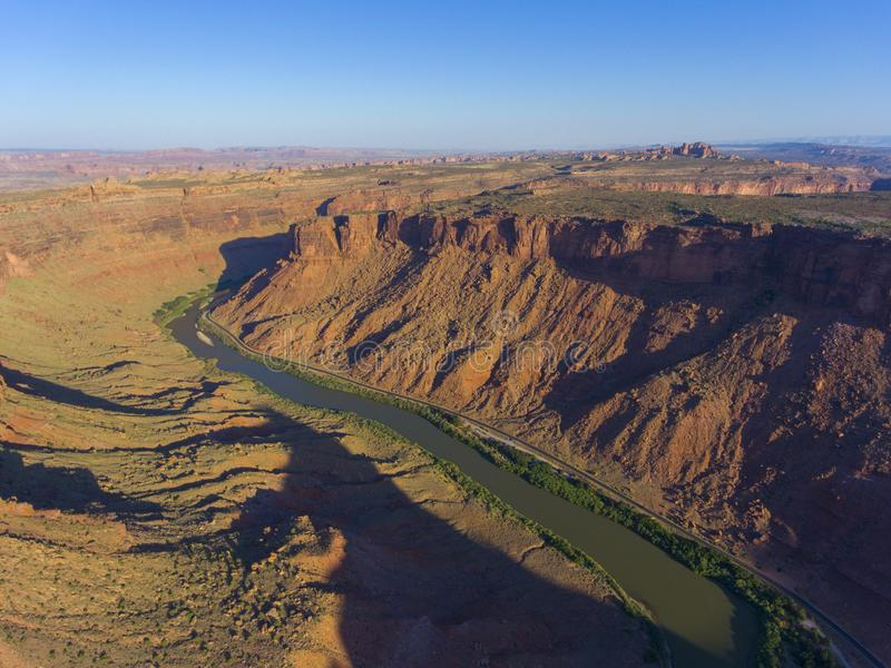 Colorado River aerial view, Moab, Utah, USA. Colorado River aerial view at sunrise near Arches National Park, Moab, Utah, USA royalty free stock images