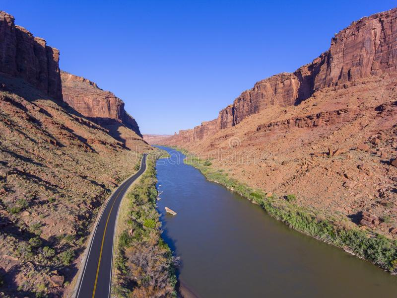 Colorado River aerial view, Moab, Utah, USA. Colorado River aerial view near Arches National Park, Moab, Utah, USA royalty free stock images