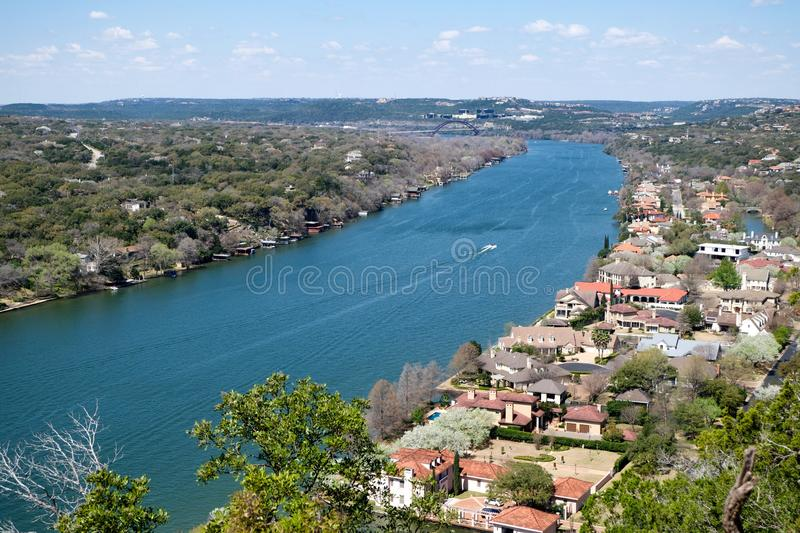 Colorado River. The beautiful Colorado river seen from above Austin, TX royalty free stock images