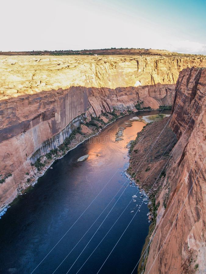 Colorado River below Horseshoe Bend. The Colorado River flowing through Horseshoe Bend just below Glen Canyon Dam in Page, Arizona royalty free stock photos