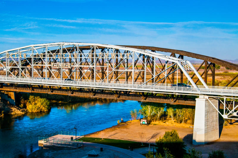 The Colorado River Bridge. Colorado River Bridge Going from Arizona to California near Yuma Arizona stock photo