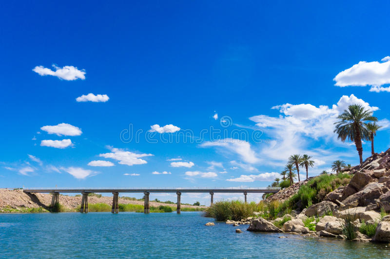 Colorado River Bridge under blue sky. In Yuma Arizona royalty free stock photography