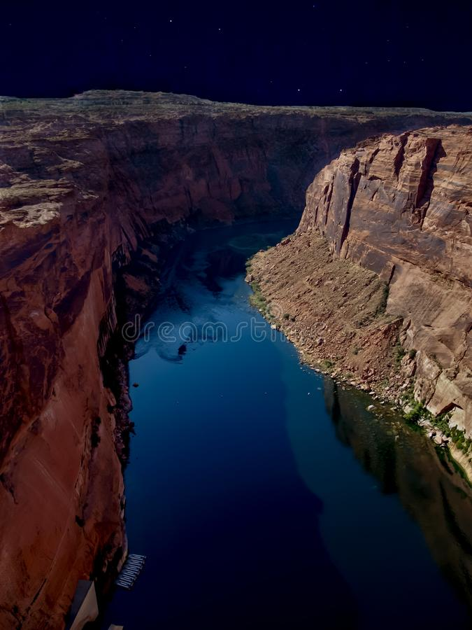 Darkness over Colorado River In Glen Canyon royalty free stock image