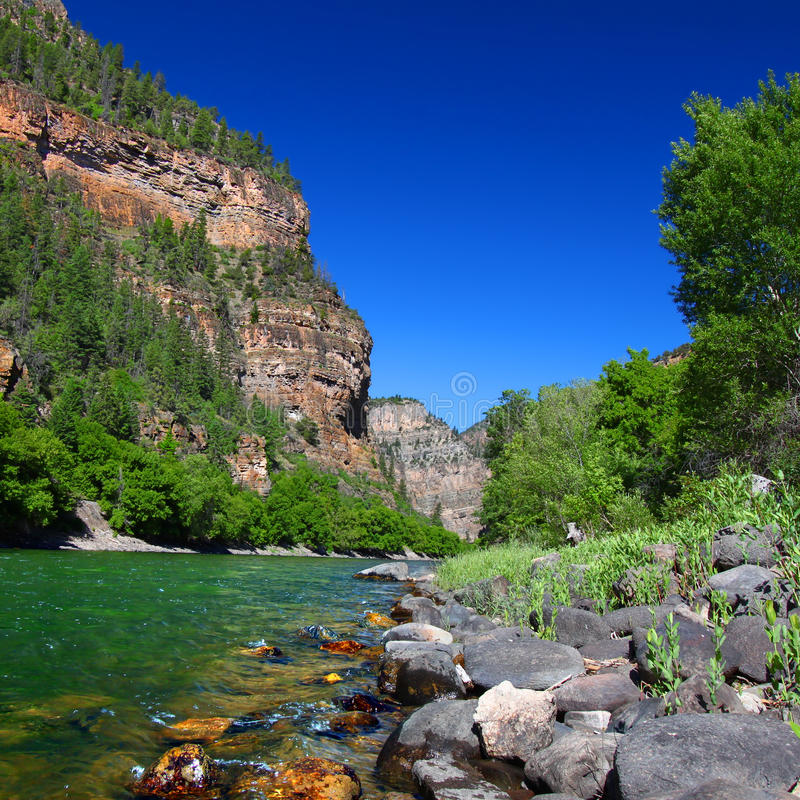 Colorado River in Glenwood Canyon. Colorado River flows through the White River National Forest in the western United States stock photography