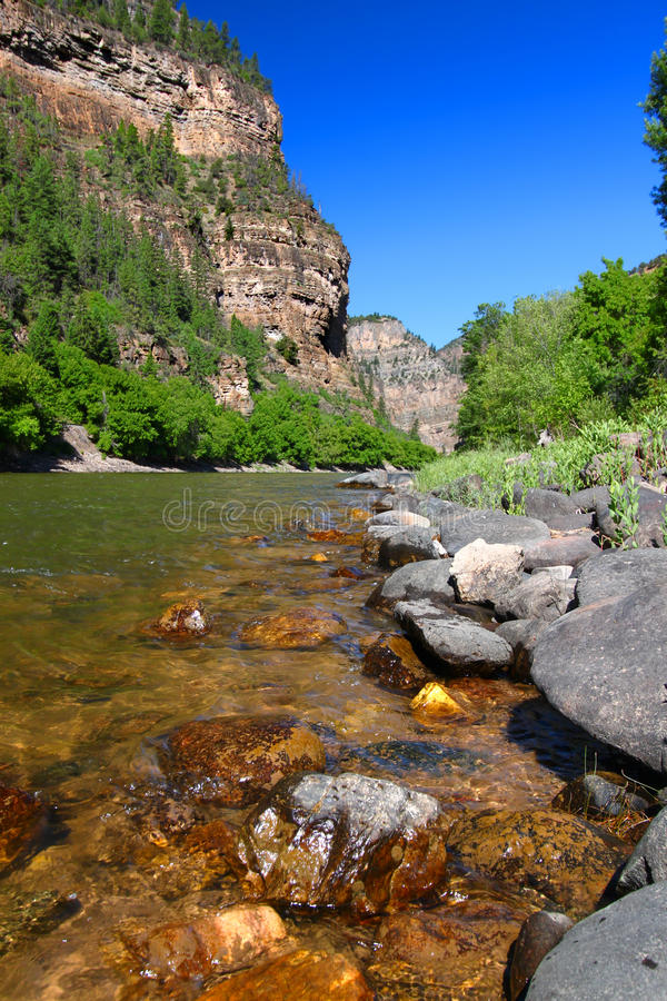 Colorado River in Glenwood Canyon. Colorado River flows through the White River National Forest in the western United States stock images