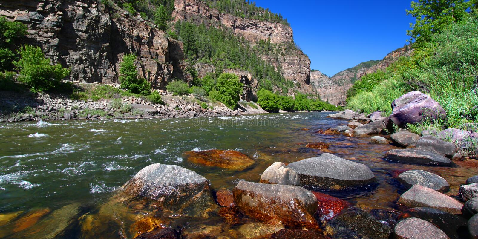 Colorado River in Glenwood Canyon. Colorado River flows through the White River National Forest in the western United States royalty free stock image