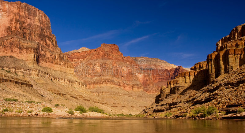 Colorado River, Grand Canyon. Grand Canyon, Colorado River, Blue Sky Sunny Day. View from Raft royalty free stock photo