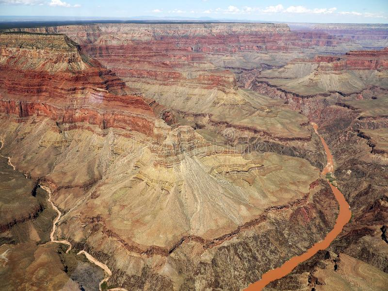 Colorado River in the Grand Canyon from the helicopter - USA. Colorado River in the Grand Canyon from the helicopter with a beautiful view over the canyon - USA royalty free stock image