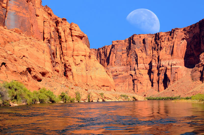 Colorado River Moon. Colorado river and moon in Glen Canyon Arizona royalty free stock images
