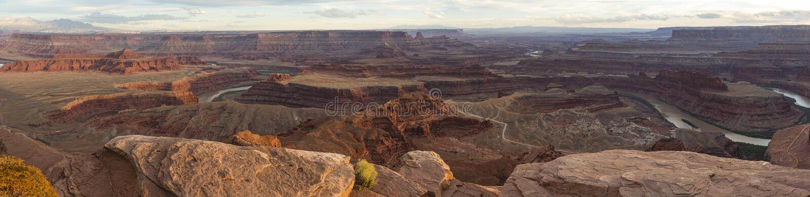 Colorado River Panorama from Dead Horse Point. Panoramic view of the Colorado River from Dead Horse Point State Park in Utah, just before sunset stock photo
