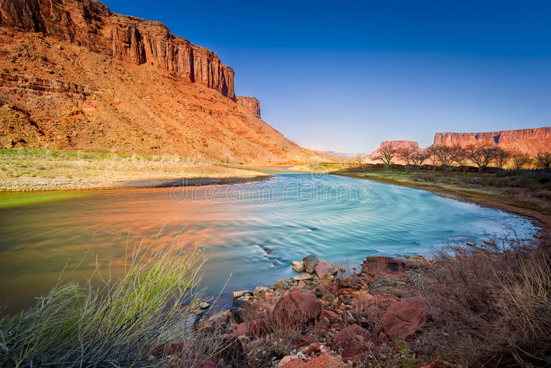 Colorado River in Utah. Late afternoon long exposure view of a colorful bend in the colorado River outside Moab, UT royalty free stock photos