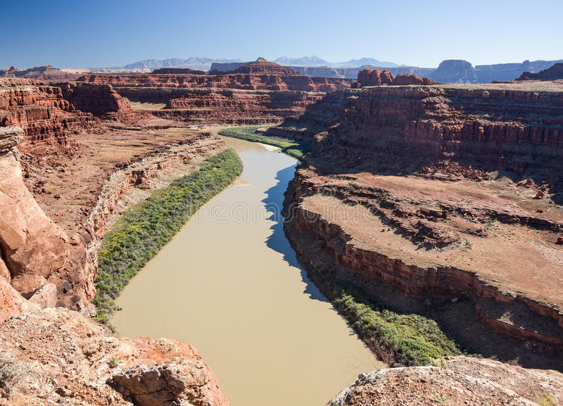 Colorado River. View of the Colorado River from Potash Road in Canyonlands National Park, Utah royalty free stock images