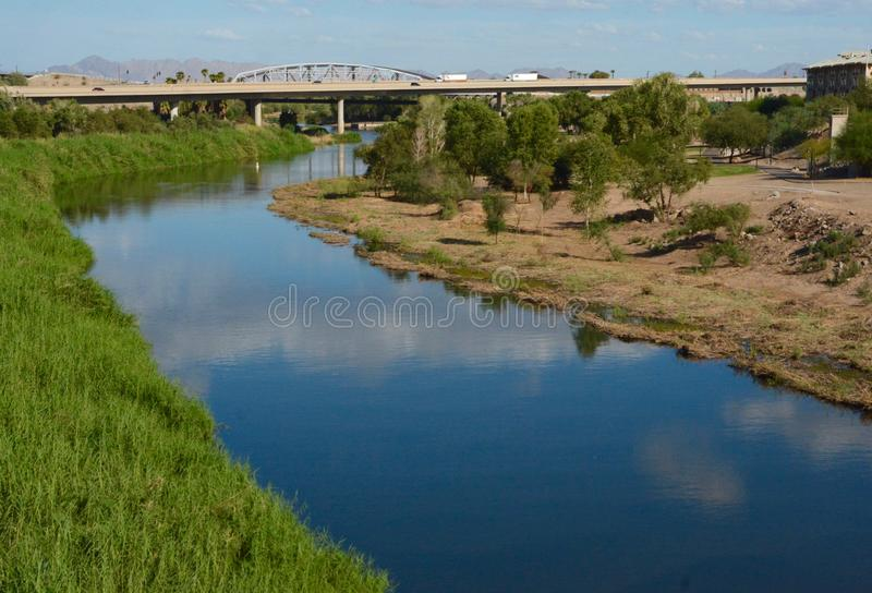 Colorado River at Yuma. Dividing California and Arizona stock photo