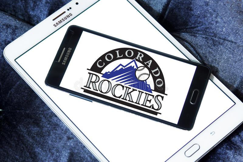 Colorado Rockies baseball team logo. Logo of Colorado Rockies club on samsung mobile. The Colorado Rockies are an American professional baseball team stock photo