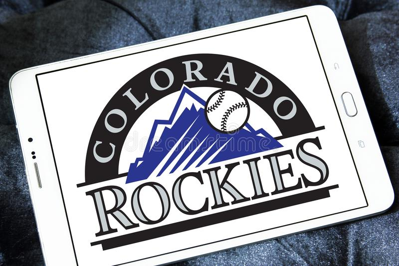 Colorado Rockies baseball team logo. Logo of Colorado Rockies baseball team on samsung tablet. The Colorado Rockies are an American professional baseball team stock photos