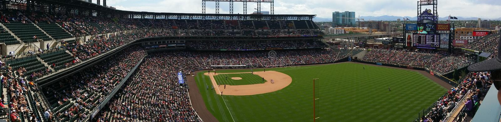 Colorado Rockies - Coors Field. Panoramic view of Colorado Rockies Game in Denver Colorado at Coors Field. Baseball and Summertime stock photo