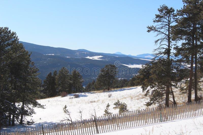 Colorado rockies. Colorado winter mountains snowy landscape trees rockies stock photography