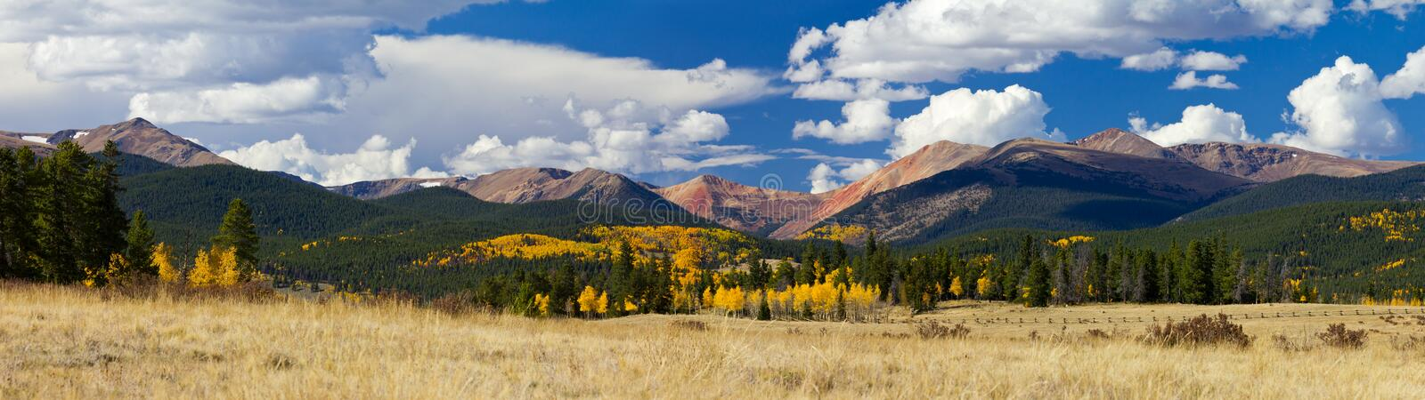Colorado Rocky Mountains in Fall. Panoramic landscape of the Colorado Rocky Mountains in Fall stock images