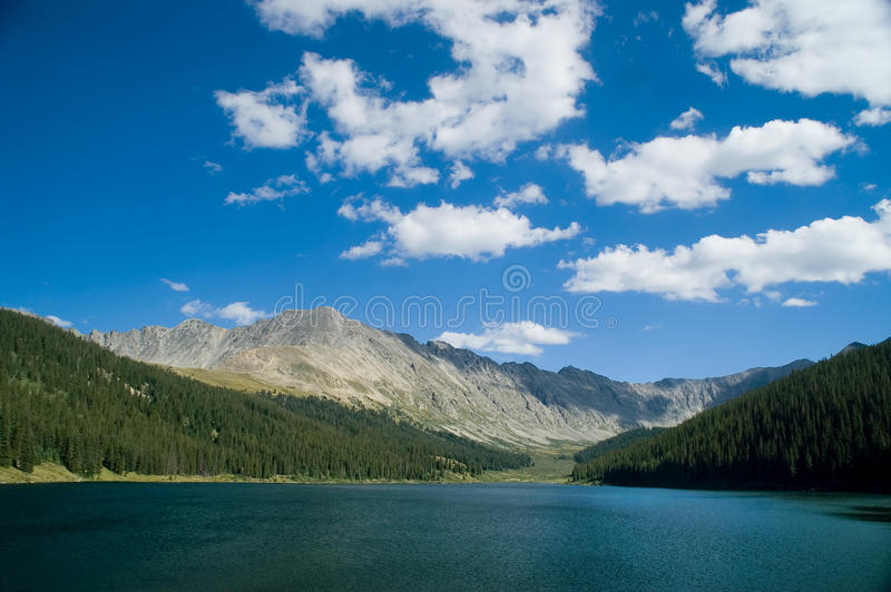 Colorado Rocky Mountains and Lake. A scenic of the beautiful Colorado Rocky Mountains and a fresh water lake stock photography