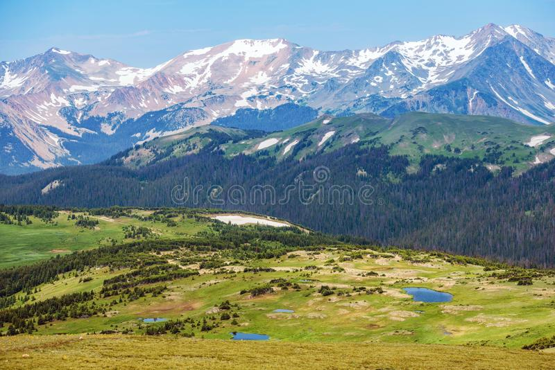 Colorado Rocky Mountains. Panorama. Snowy Peaks and the Green Hills with Small Mountain Lakes. Colorado Landscape, United States stock photo