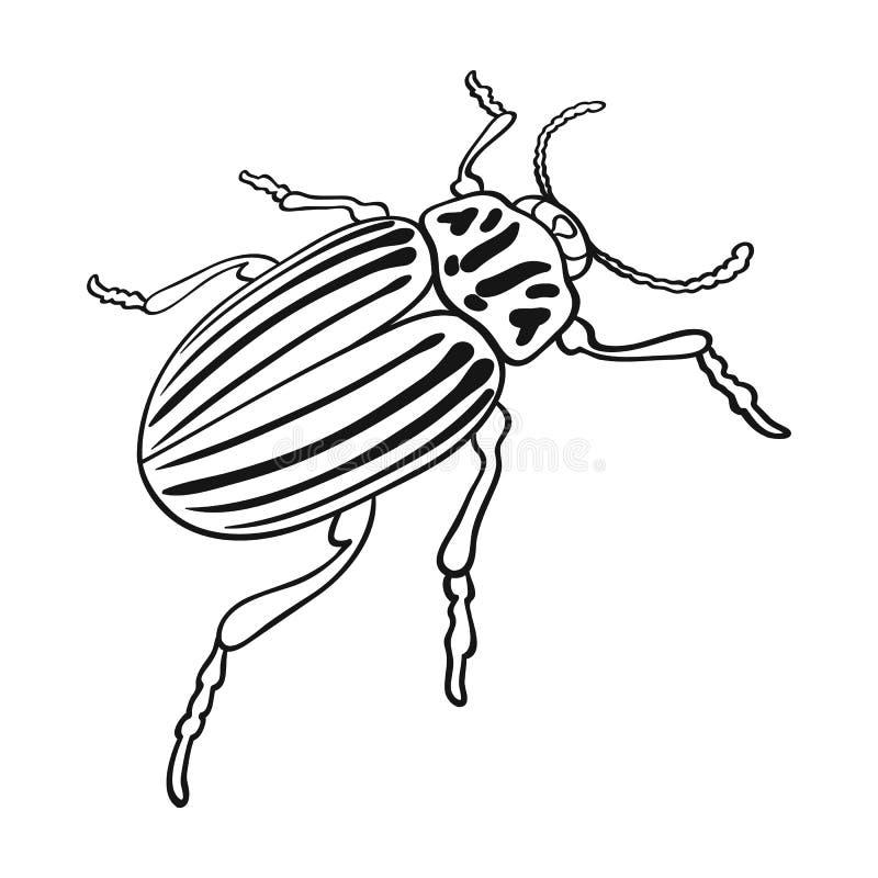Colorado skalbagge, ett coleopterous kryp Colorado en enkel symbol för skadligt kryp i materiel för symbol för översiktsstilvekto vektor illustrationer