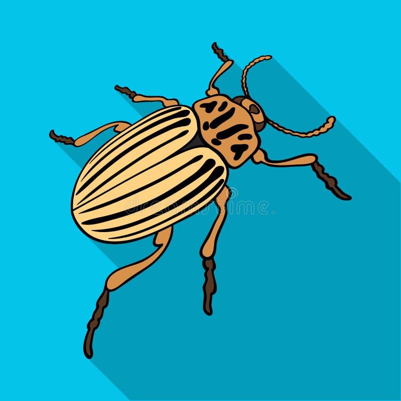 Colorado skalbagge, ett coleopterous kryp Colorado en enkel symbol för skadligt kryp i plant materiel för stilvektorsymbol stock illustrationer