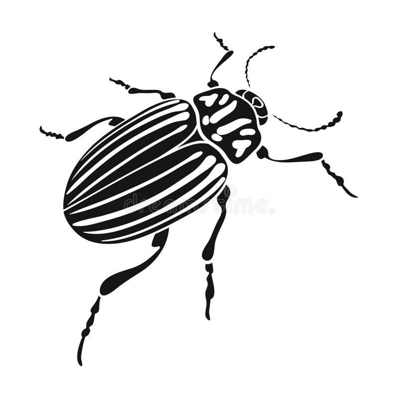 Colorado skalbagge, ett coleopterous kryp Colorado en enkel symbol för skadligt kryp i svart materiel för stilvektorsymbol vektor illustrationer