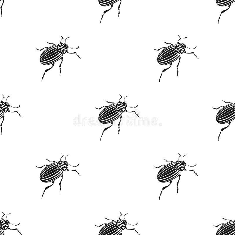 Colorado skalbagge, ett coleopterous kryp Colorado en enkel symbol för skadligt kryp i svart materiel för stilvektorsymbol royaltyfri illustrationer