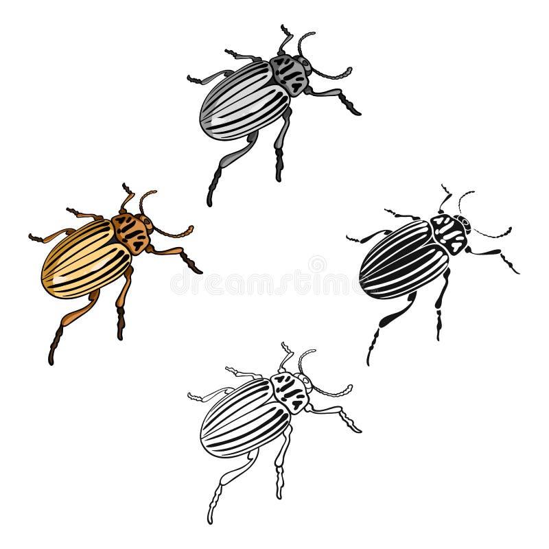 Colorado skalbagge, ett coleopterous kryp Colorado en enkel symbol f?r skadligt kryp i tecknade filmen, svart materiel f?r stilve stock illustrationer