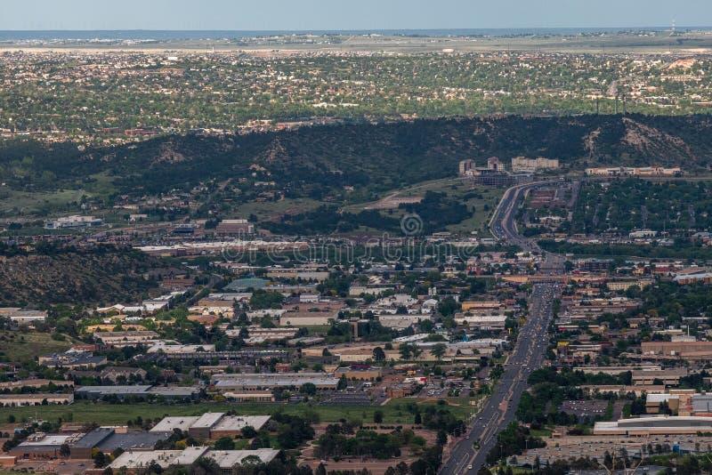 Colorado Springs cityscape royaltyfria bilder