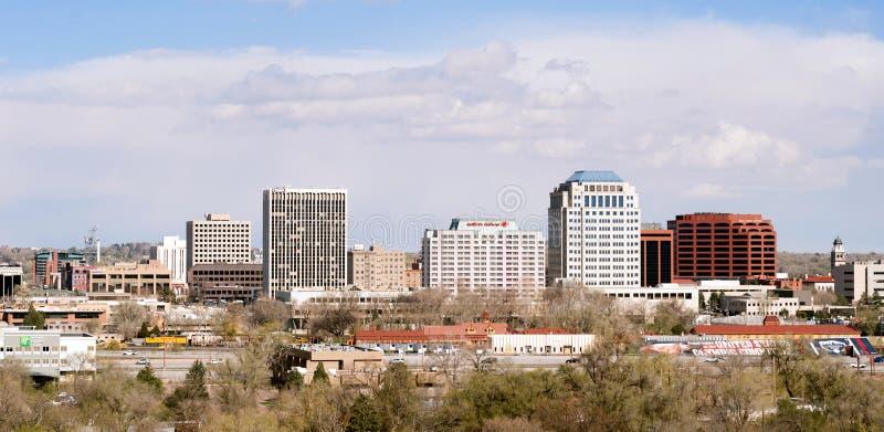 "Colorado Springs Colorado Förenta staterna †""April, 20: I stadens centrum arkivbild"