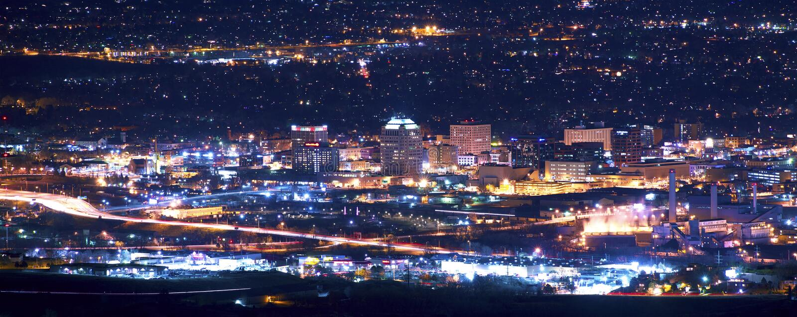Colorado Springs at Night. Panoramic Photography. Colorado Springs, Colorado, United States royalty free stock image