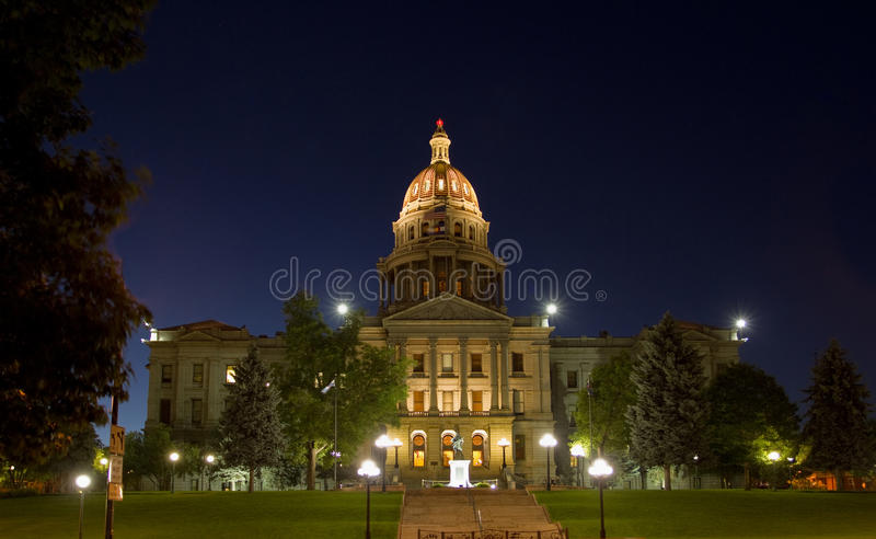 Colorado State Capitol at Night. Colorado State Capitol Building in Denver, at night royalty free stock image