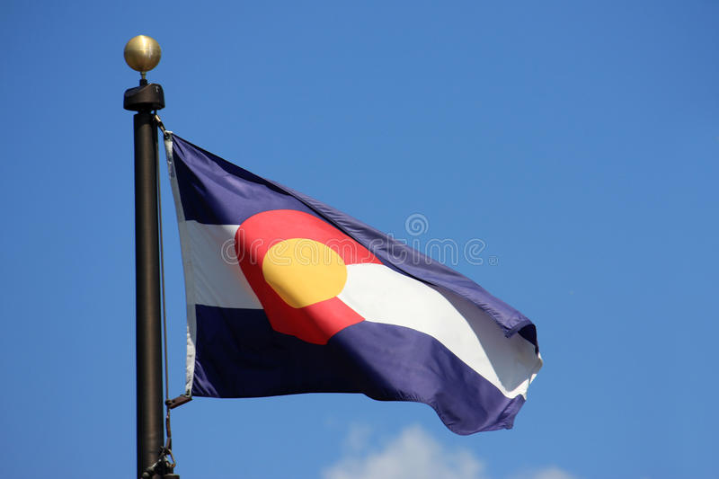 Colorado State Flag. In a blue sky royalty free stock image