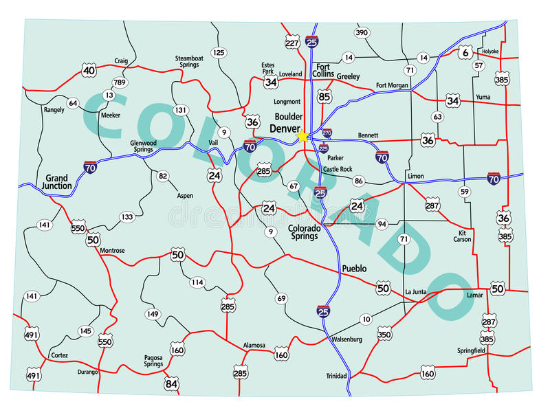 download colorado state interstate map stock vector ilration of pueblo guide 15247182