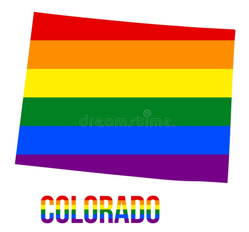 Colorado State Map in LGBT Rainbow Flag Comprised Six Stripes With Colorado LGBT Text. The Flag Comprised Six Stripes; Meaning to Each of The Colors: Life royalty free illustration