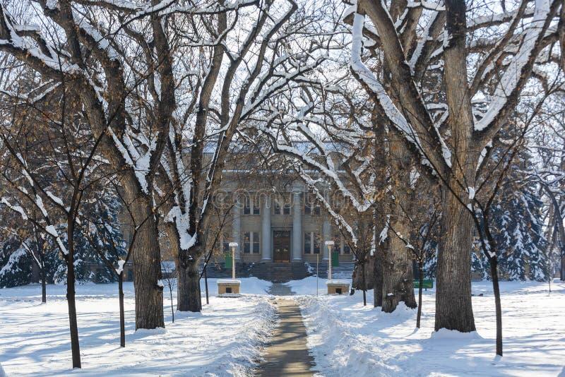 Colorado State University Administration Building in Fort Collins, Colorado royaltyfri fotografi