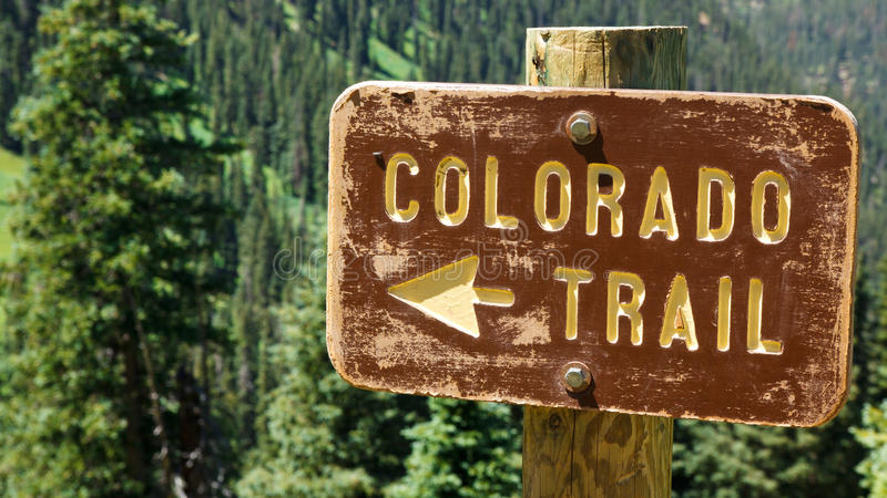 Colorado Trail Sign. In the Rocky Mountains, Colorado royalty free stock photography
