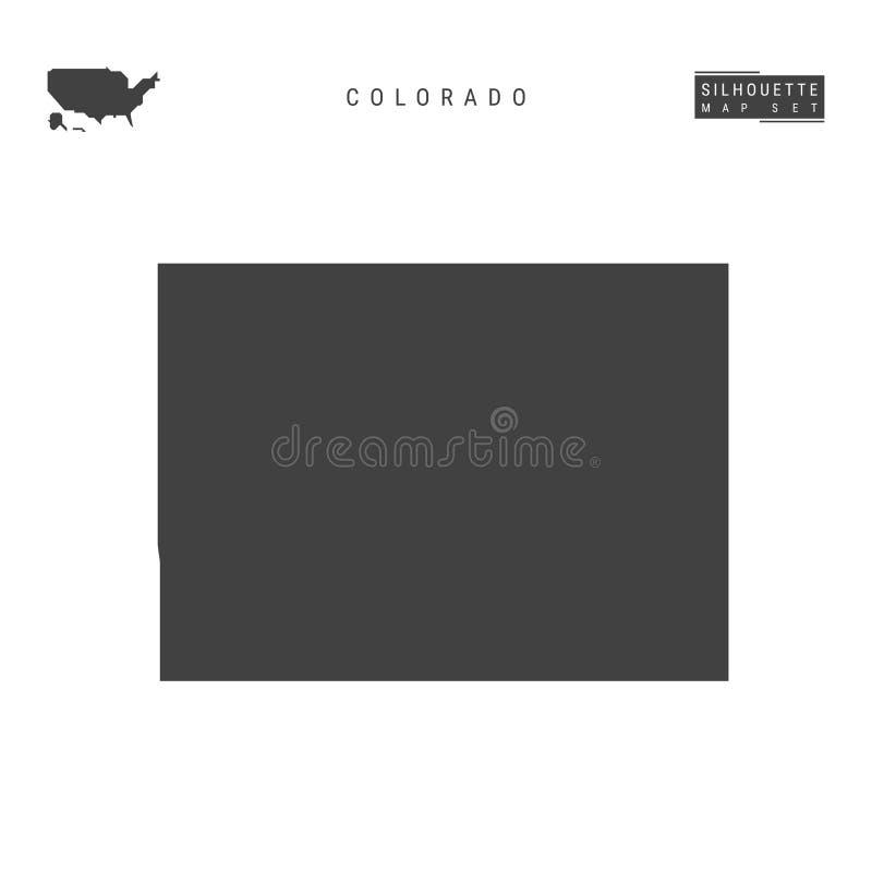 Colorado USA påstår vektoröversikten som isoleras på vit bakgrund Hög-specificerad svart konturöversikt av Colorado vektor illustrationer