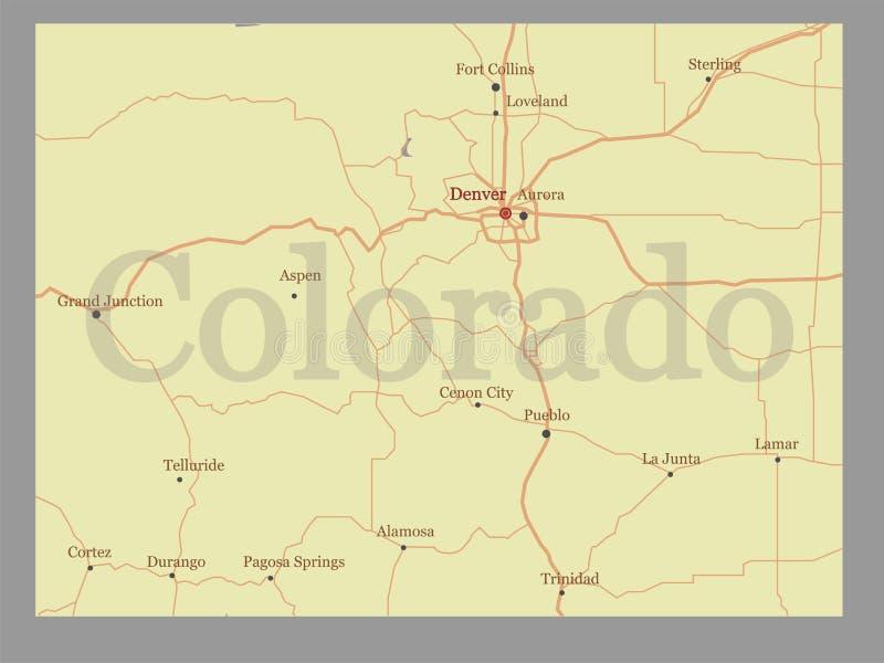 Colorado-Vektor Zustands-Karte mit Gemeinschaftshilfe und aktivieren lizenzfreie abbildung