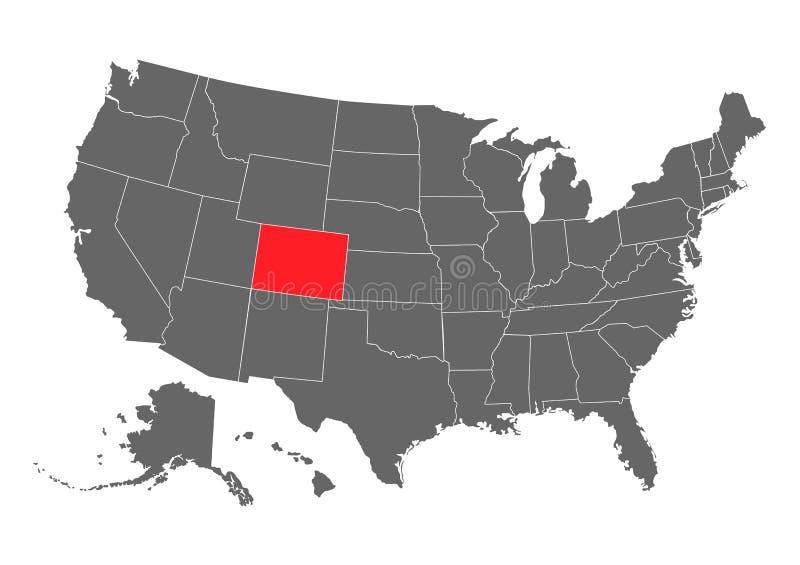 Colorado-Vektorkartenschattenbild Hohe ausf?hrliche Illustration Vereinigter Zustand von Amerika-Land lizenzfreie abbildung