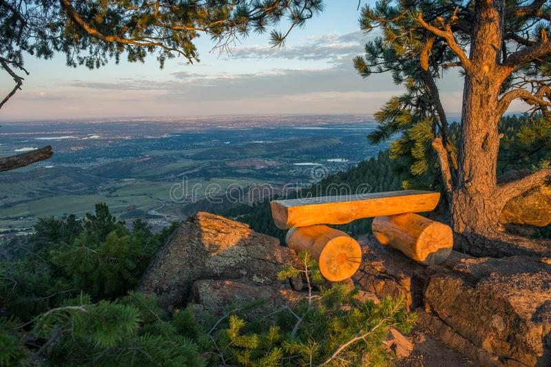 Colorado View Point Bench. Place. Mount Falcon Vista Point. Denver Metro Area Panorama royalty free stock photo