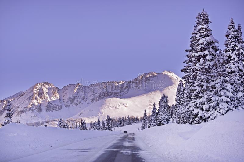 Colorado Winter Highway. Under Fresh Snow. Road to Leadville, Colorado United States royalty free stock photography