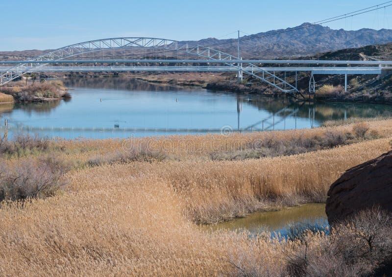 Coloradofloden nära den Topock klyftan royaltyfria bilder