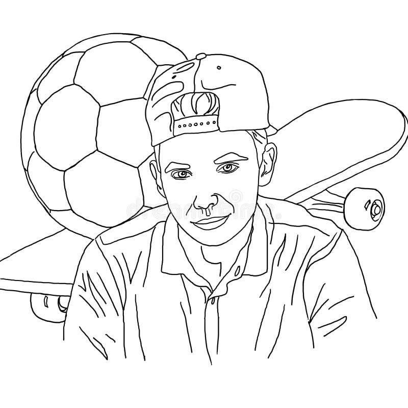 Colorando, il disegno lineare, il ragazzo, l'adolescente, il pattino, il pallone da calcio, hobby, ha personalizzato il ritratto, fotografia stock libera da diritti